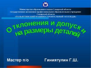 Мастер п/о Гиниятулин Г.Ш. Министерство образования и науки Самарской области