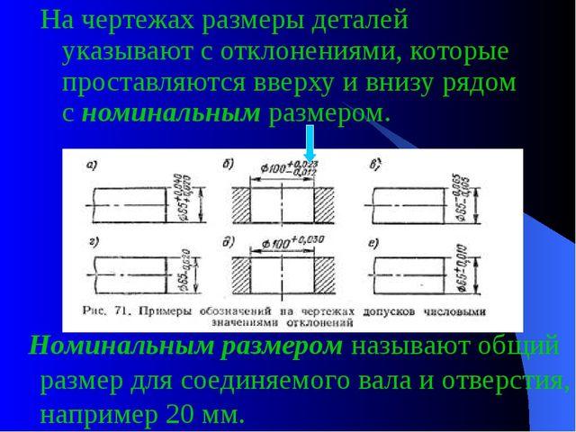 На чертежах размеры деталей указывают с отклонениями, которые проставляются в...