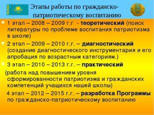 Этапы работы по гражданско- патриотическому воспитанию 1 этап – 2008 – 2009