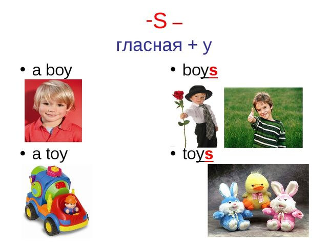 S – гласная + y a boy boys a toy toys