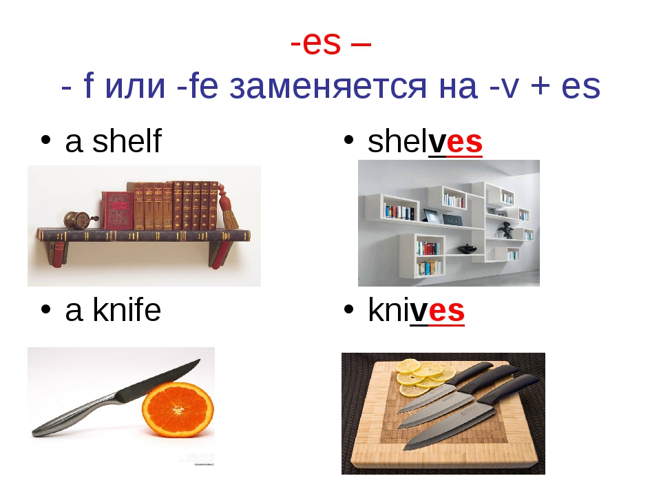 -es – - f или -fe заменяется на -v + es a shelf shelves a knife knives