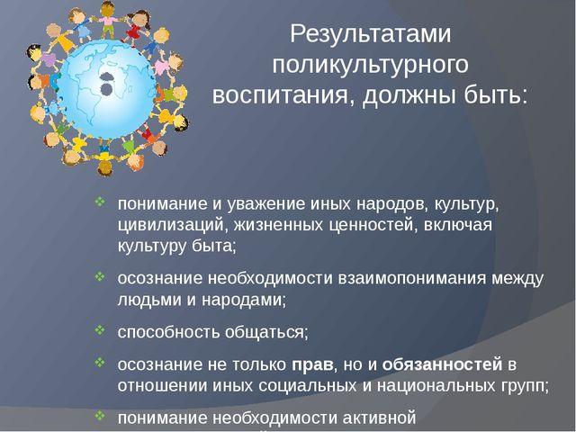 Результатами поликультурного воспитания, должны быть: понимание и уважение ин...
