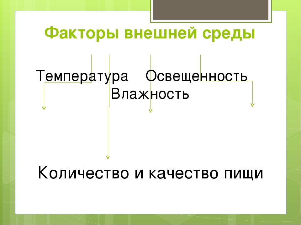 Факторы внешней среды Температура Освещенность Влажность Количество и качеств...