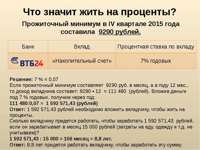 Что значит жить на проценты? Прожиточный минимум в IV квартале 2015 года сост...