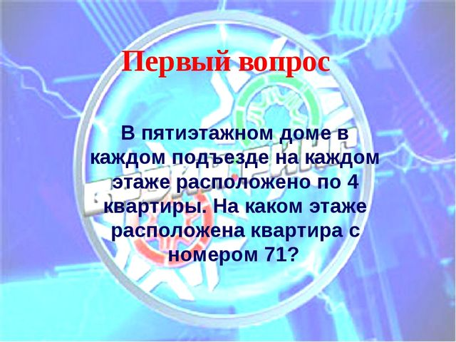 Первый вопрос В пятиэтажном доме в каждом подъезде на каждом этаже расположен...