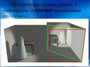 3d проекторы своими руками: 1 вариант Наблюдатель стоит в зоне красной рамки.