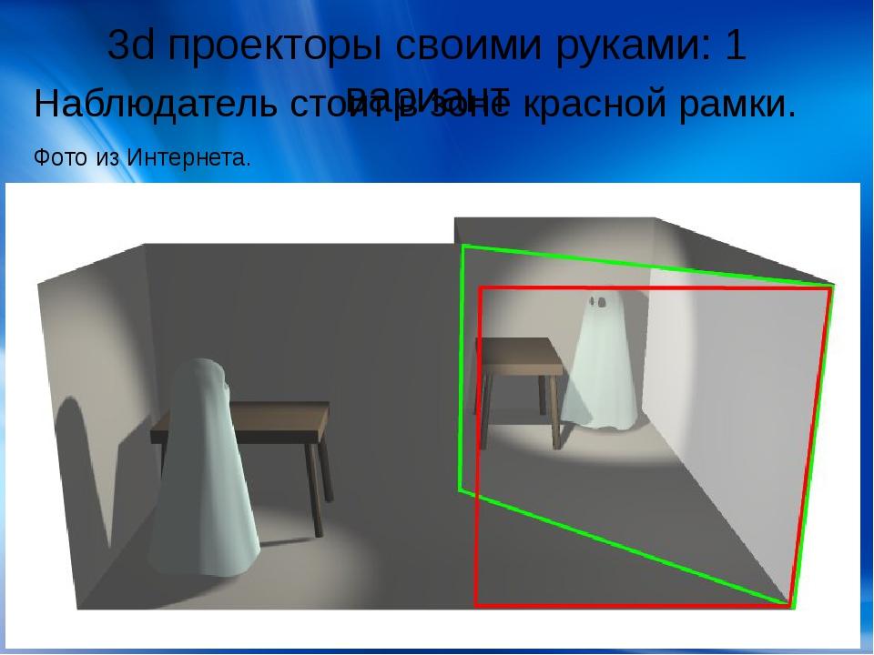 3d проекторы своими руками: 1 вариант Наблюдатель стоит в зоне красной рамки....