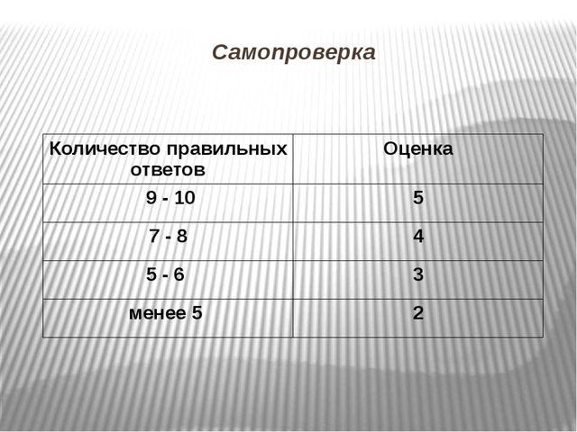 Самопроверка Количество правильных ответов Оценка 9 - 10 5 7 - 8 4 5 - 6 3 ме...