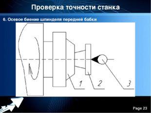 Проверка точности станка 6. Осевое биение шпинделя передней бабки Powerpoint