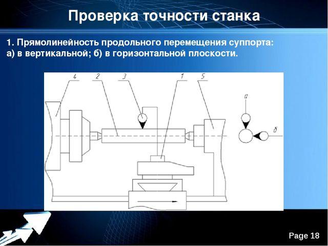 Проверка точности станка 1. Прямолинейность продольного перемещения суппорта:...
