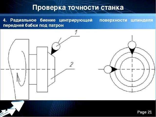 Проверка точности станка 4. Радиальное биение центрирующей поверхности шпинде...