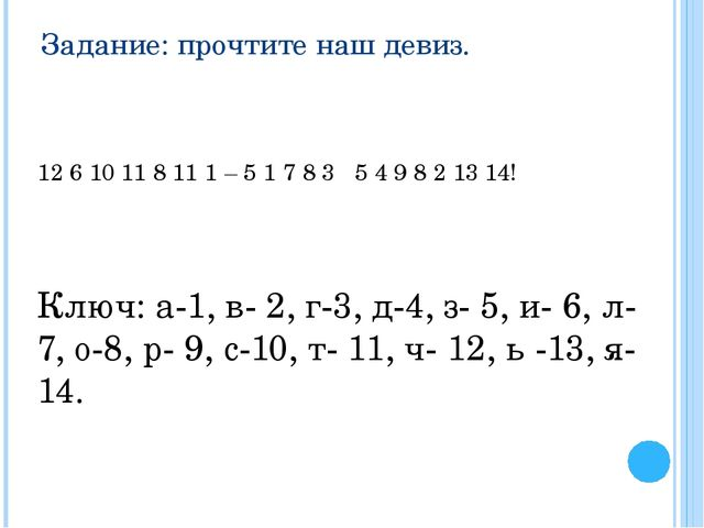 Задание: прочтите наш девиз. 12 6 10 11 8 11 1 – 5 1 7 8 3 5 4 9 8 2 13 14! К...