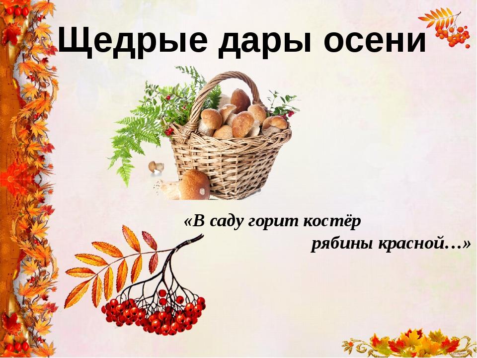 Щедрые дары осени «В саду горит костёр рябины красной…»