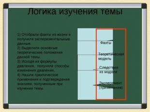 Логика изучения темы 1) Отобрали факты из жизни и получили экспериментальные