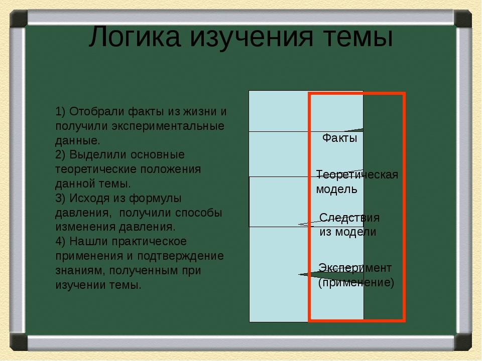 Логика изучения темы 1) Отобрали факты из жизни и получили экспериментальные...
