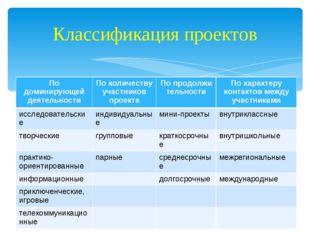 Классификация проектов По доминирующей деятельностиПо количеству участников