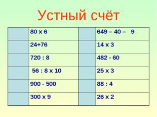 Устный счёт Т80 х 6 К649 – 40 – 9 Е24+76Н14 х 3 У720 : 8Р482 - 60 Г