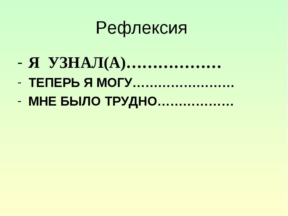 Рефлексия Я УЗНАЛ(А)……………… ТЕПЕРЬ Я МОГУ…………………… МНЕ БЫЛО ТРУДНО………………