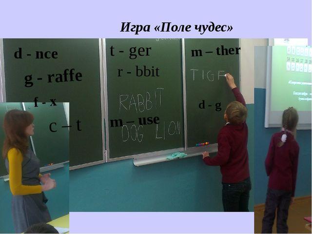 t - ger m – ther d - nce g - raffe m – use r - bbit Игра «Поле чудес» d - g...