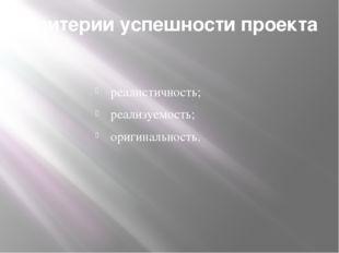 Критерии успешности проекта реалистичность; реализуемость; оригинальность.