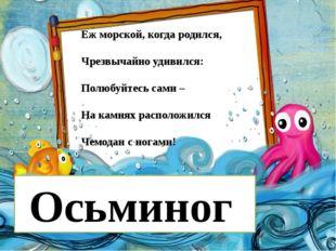 Еж морской, когда родился, Чрезвычайно удивился: Полюбуйтесь сами – На камня