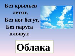 Без крыльев летят, Без ног бегут, Без паруса плывут. Облака