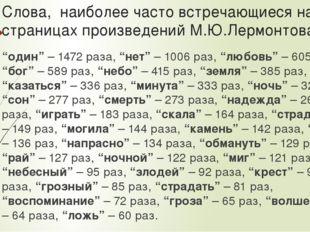 Слова, наиболее часто встречающиеся на страницах произведений М.Ю.Лермонтова: