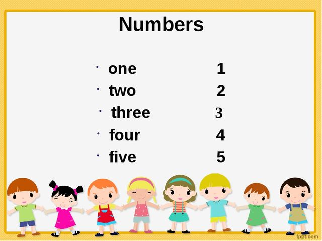 Numbers one 1 two 2 three 3 four 4 five 5