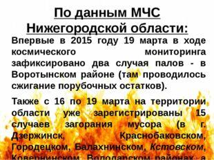 По данным МЧС Нижегородской области: Впервые в 2015 году 19 марта в ходе косм