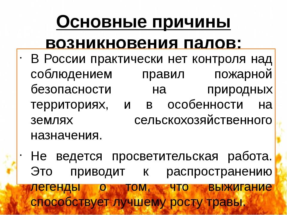 Основные причины возникновения палов: В России практически нет контроля над с...