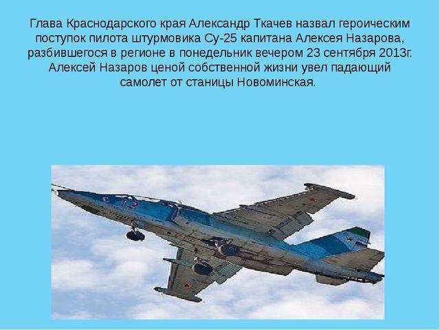Глава Краснодарского края Александр Ткачев назвал героическим поступок пилота...