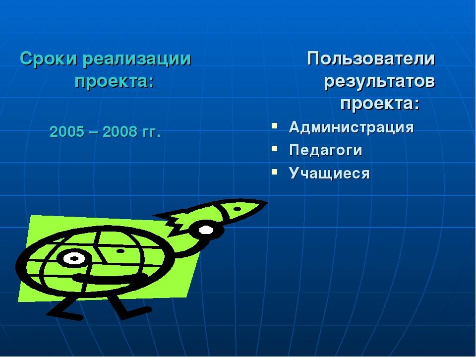 Сроки реализации проекта: 2005 – 2008 гг. Пользователи результатов проекта: А...