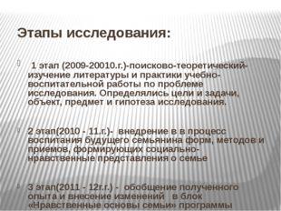 Этапы исследования: 1 этап (2009-20010.г.)-поисково-теоретический-изучение л