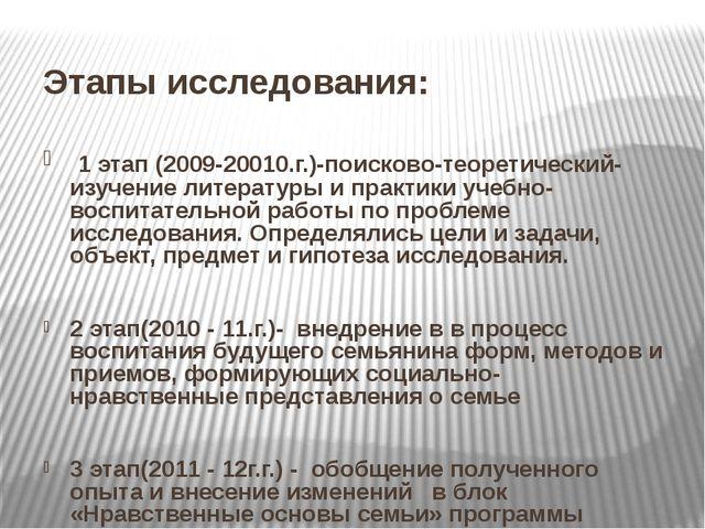 Этапы исследования: 1 этап (2009-20010.г.)-поисково-теоретический-изучение л...