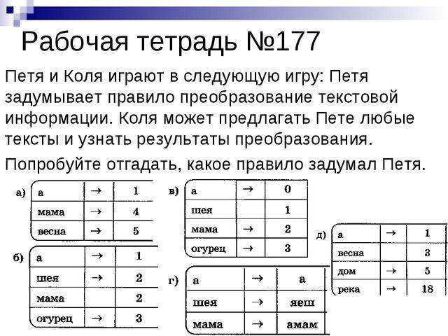 Рабочая тетрадь №177 Петя и Коля играют в следующую игру: Петя задумывает пра...
