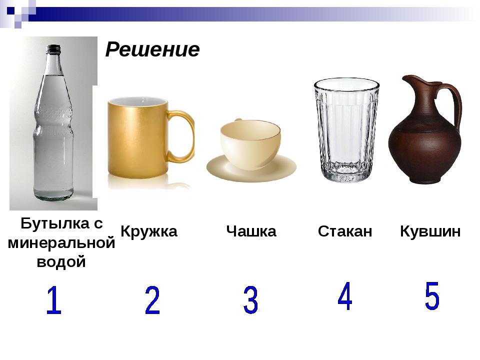 Бутылка с минеральной водой Кружка Чашка Стакан Кувшин Решение