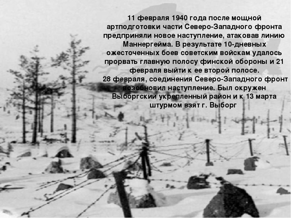 11 февраля 1940 года после мощной артподготовки части Северо-Западного фронта...