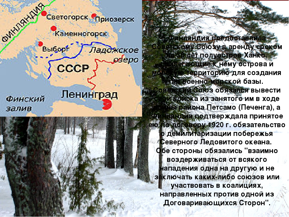 Финляндия предоставляла Советскому Союзу в аренду сроком на 30 лет полуостров...