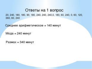 Ответы на 1 вопрос 20, 240, 180, 180, 90, 180, 240, 240, 240,0, 180, 60, 240,