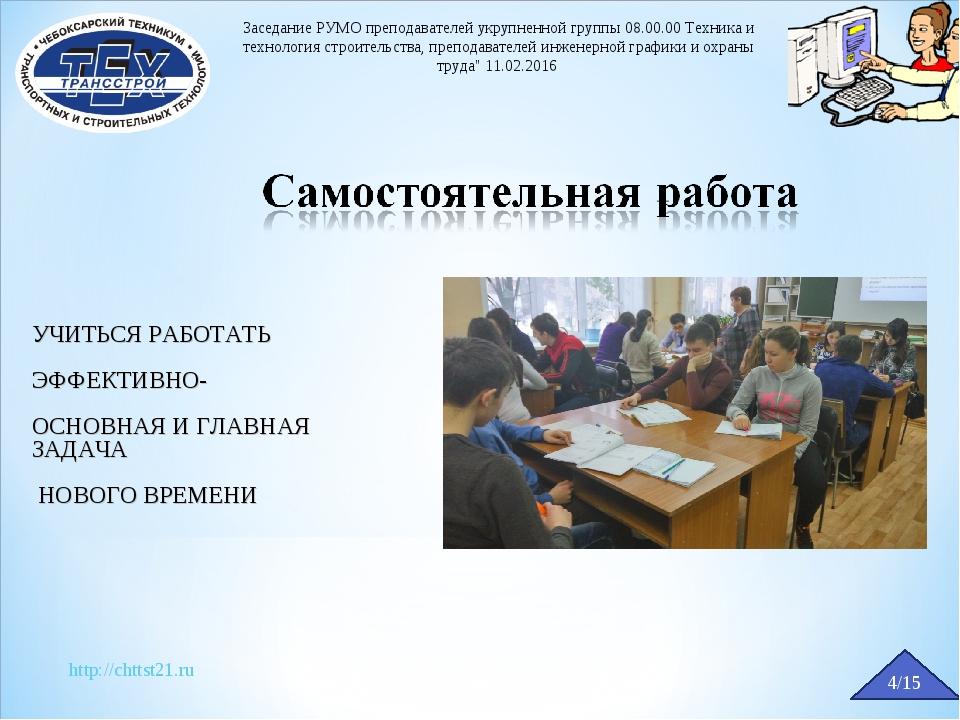 http://chttst21.ru 4/15 Заседание РУМО преподавателей укрупненной группы 08.0...