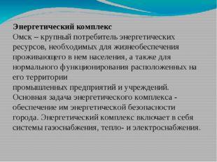 Энергетический комплекс Омск – крупный потребитель энергетических ресурсов, н