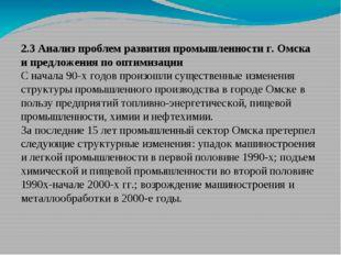2.3 Анализ проблем развития промышленности г. Омска и предложения по оптимиза