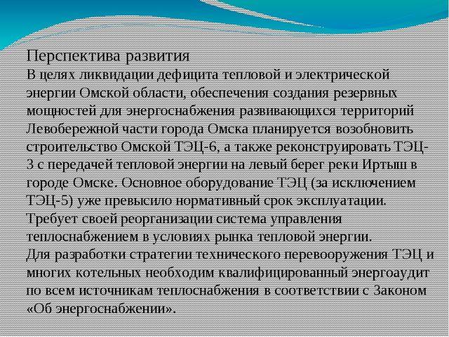 Перспектива развития В целях ликвидации дефицита тепловой и электрической эне...