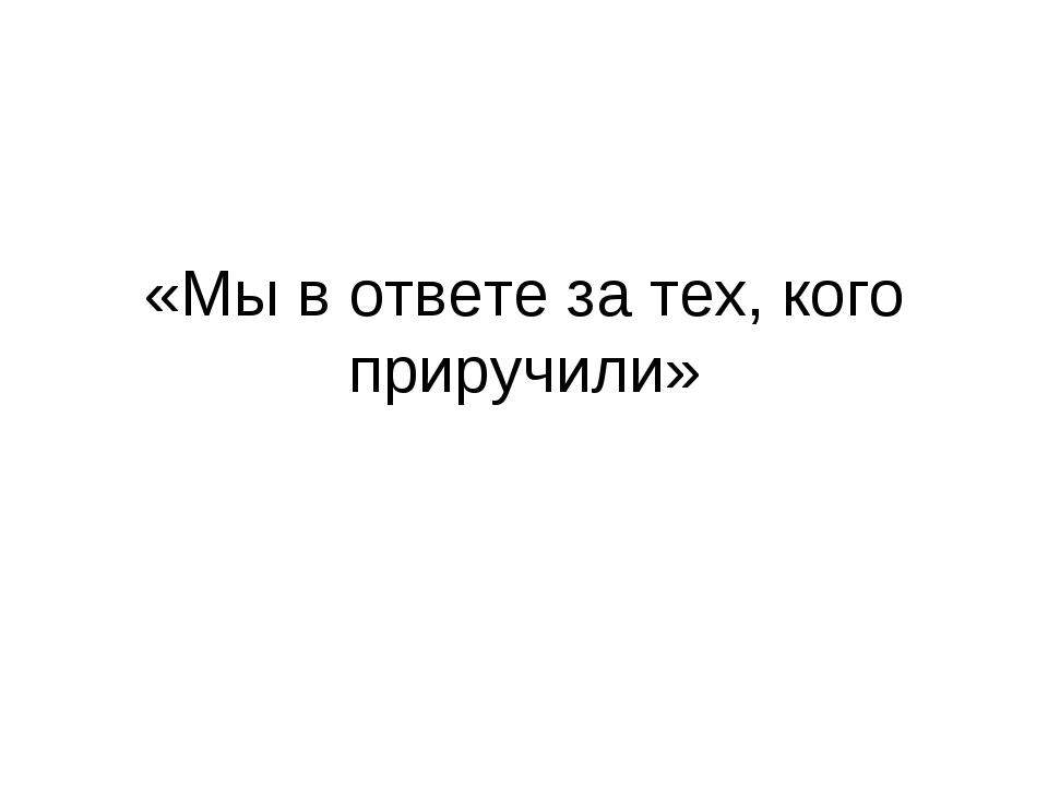 «Мы в ответе за тех, кого приручили»