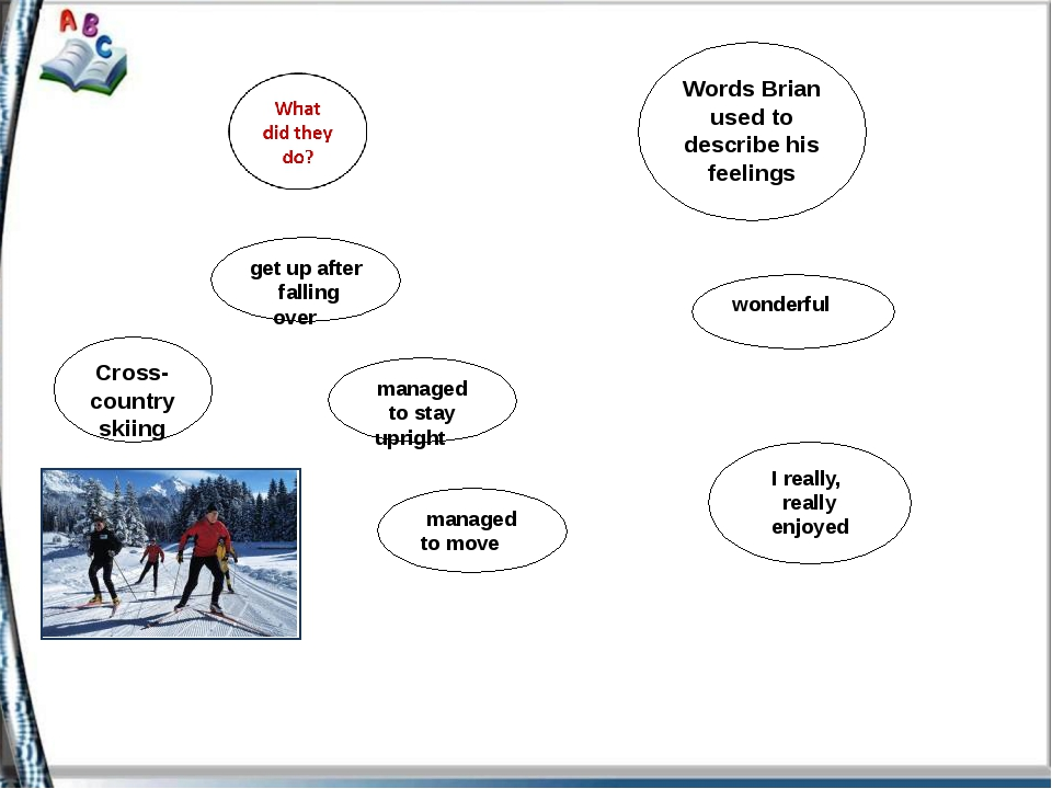 Words Brian used to describe his feelings Cross-country skiing get up after...