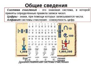 Система счисления - это знаковая система, в которой приняты определённые прав