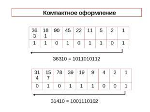 36310 = 1011010112 31410 = 1001110102 Компактное оформление 363 181 90 45 22