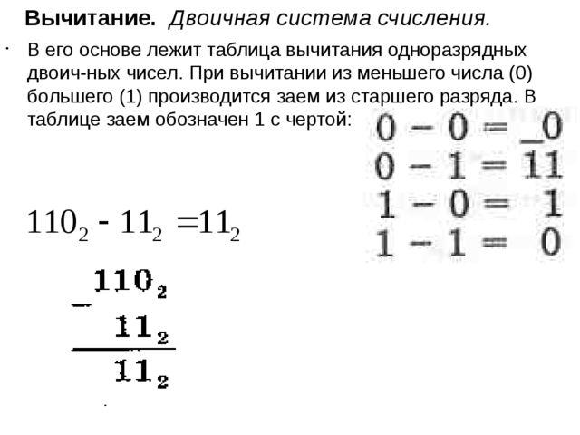 Вычитание. Двоичная система счисления. В его основе лежит таблица вычитания...