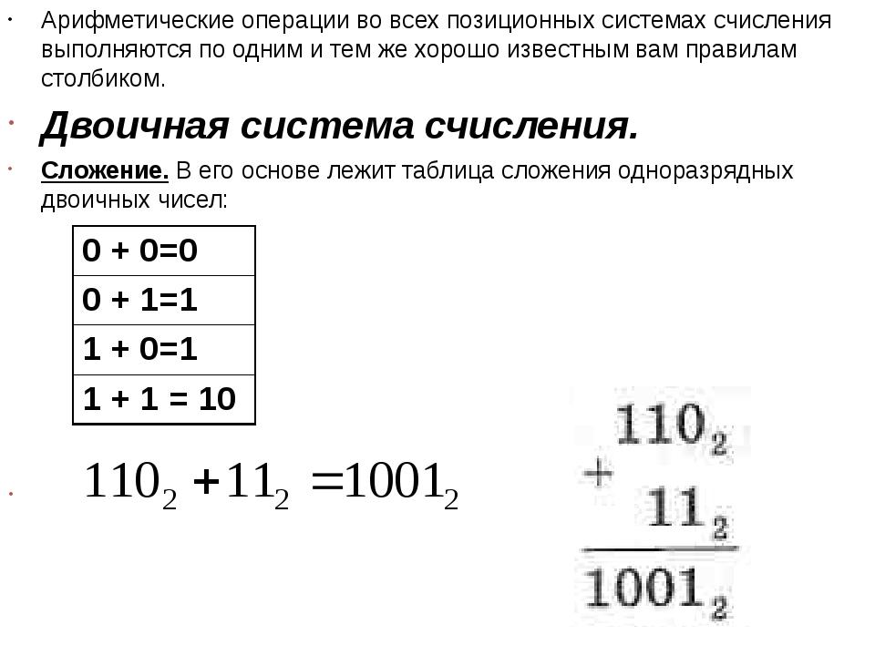 Арифметические операции во всех позиционных системах счисления выполняются по...