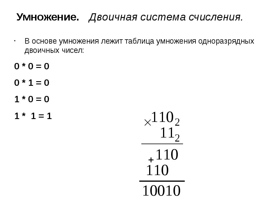 Умножение. Двоичная система счисления. В основе умножения лежит таблица умно...